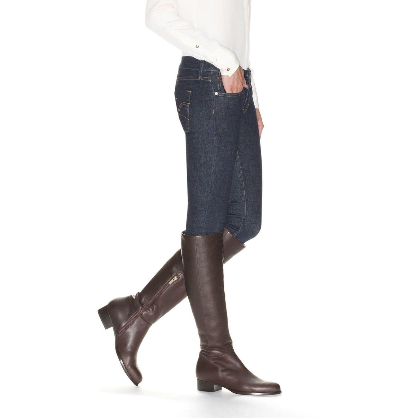 $1190 Jimmy Choo Brown Tall Knee Leather Flat Riding Boot Genna Bootie 36.5 Sale