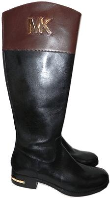 301839c0acb2 Michael Kors Hayley Gold Mk Black Leather Flat Riding Boot Riding Bootie 6.5