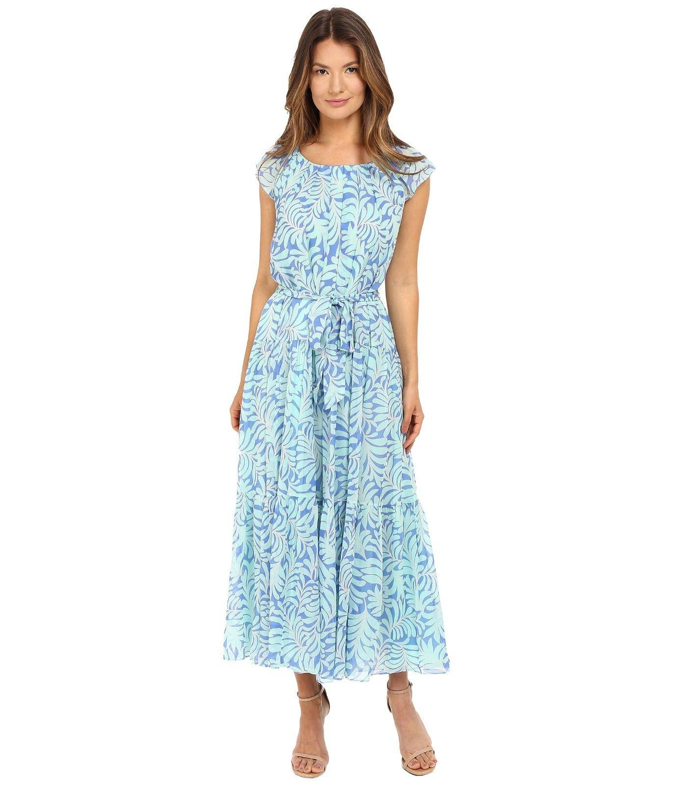 $498 Kate Spade New York Patio Maxi Silk Sea Ferns Print Dress Sz Small S