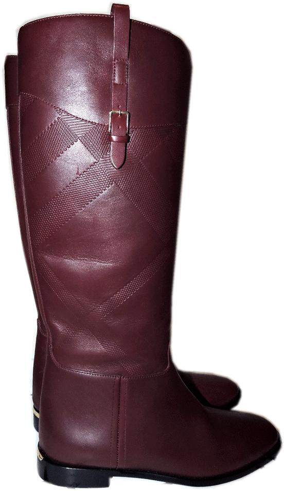 $1095 Burberry Copse House Check Print Burgundy Flat Tall Boots 36 Booties