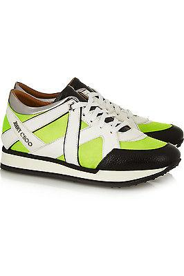 Jimmy Choo Yellow Lime London Neon Mesh And Leather Sneakers Flat Shoe 37