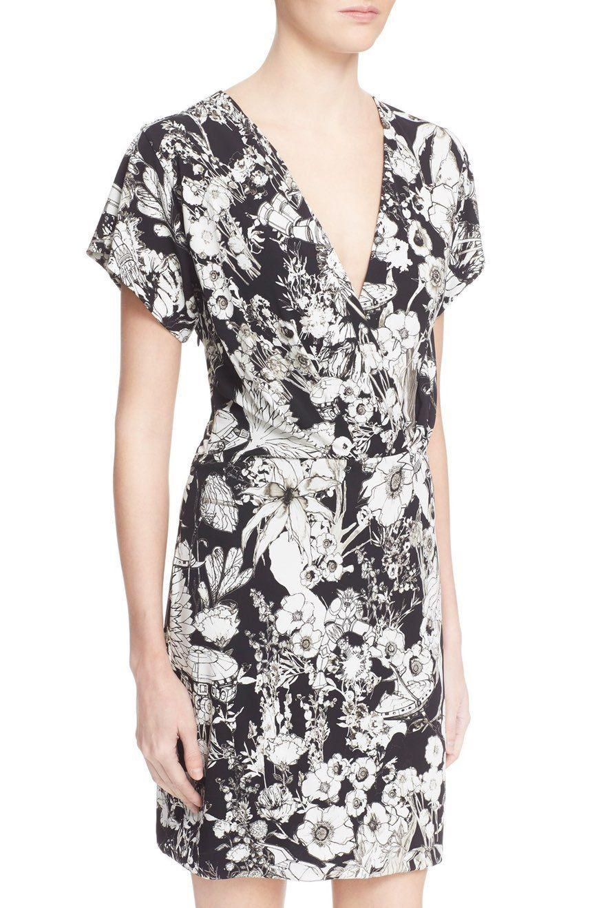 $1090 Roberto Cavalli Astro Garden Floral Print Stretch V Neck Dress 44- 8