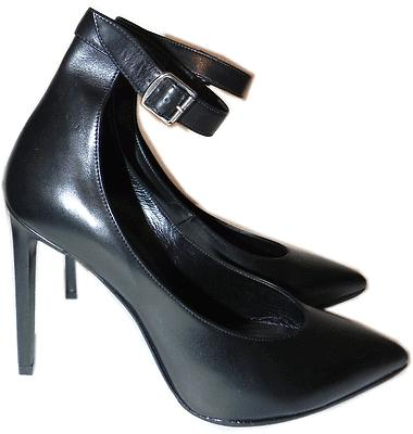 $895 Ysl Saint Laurent Black Leather Ankle Strap Pointed Toe Pump Shoes 37- 6.5