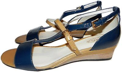 $585 Tods Blue Sandals Flat Small Wedge Patent Leather Shoe 39.5 - 9 T- Strap