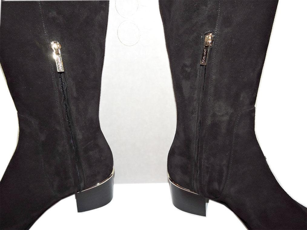 $1495 Jimmy Choo Harmony Black Suede Over-The-Knee Boots Booties 37.5- 7 - Click Image to Close