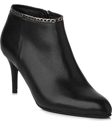 $495 L.k.bennett Dusty Ankle Black Leather Chain Boots Zipper Booties 40 - 9