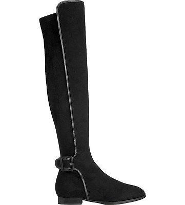 $677 L.k. Bennett Delila-Over-The-Knee Boots Flat Black Suede Booties 37- 6.5
