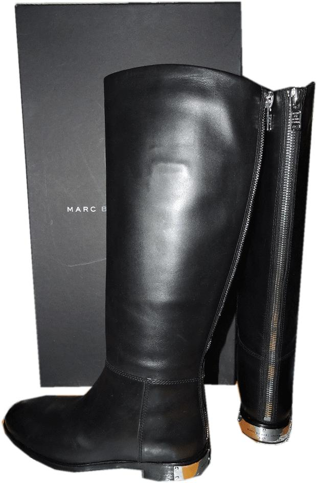 Marc Jacobs Black Leather Flat Riding Boots Kip Back Zipper Booties 37