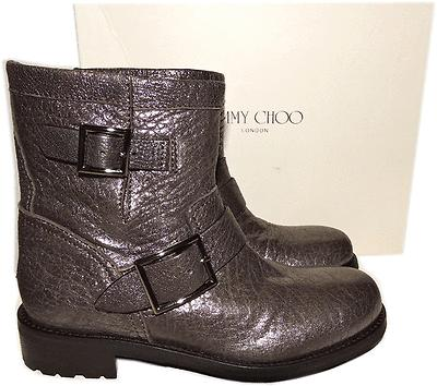 $1050 Jimmy Choo Metallic Brown Leather Biker Youth Motorcycle Boot Bootie 37