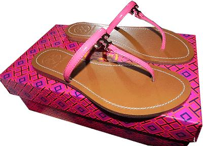 Tory Burch T Thong Sandal Pink Saffiano Leather Flat Shoe Flip Flop 6.5 Slide