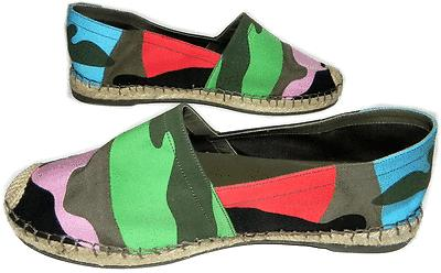 $695 Valentino Psychedelic Canvas Espadrilles Flats Camouflage Ballet Shoes 37