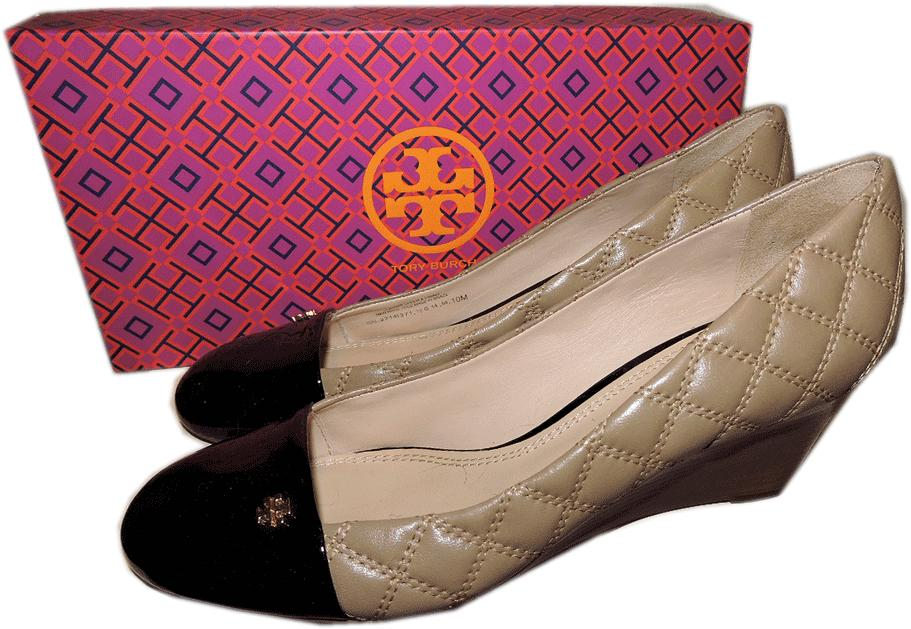 b6162c2e97d897 Tory Burch Claremont Quilted Beige Leather Wedge Pump Shoe Gold Logo ...