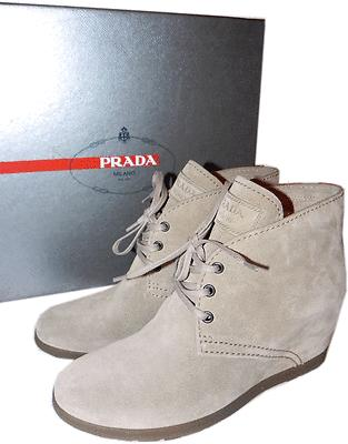 Prada Beige Suede Ankle Bootie Small Wedge Boot Lace Up Shoe Pump 39.5- 9.5