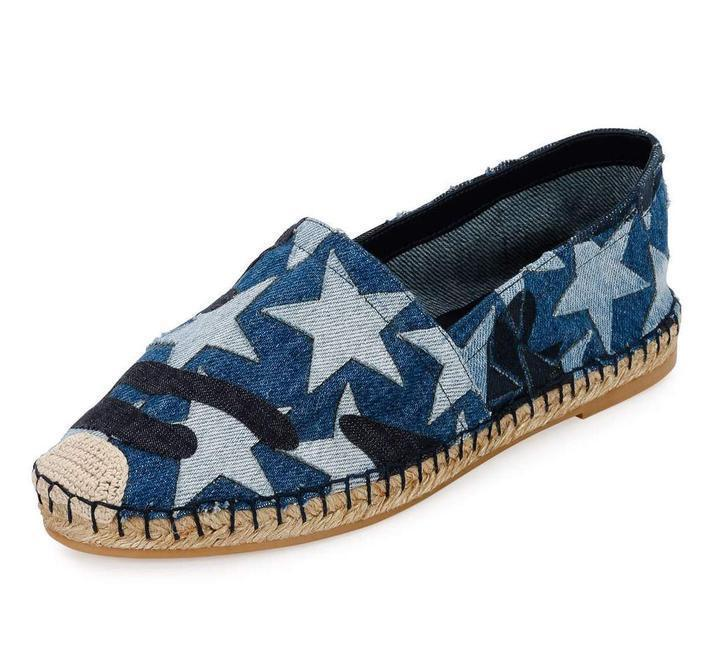$595 VALENTINO Star & Camouflage Denim Blue Espadrilles Shoe Ballet Loafer 38