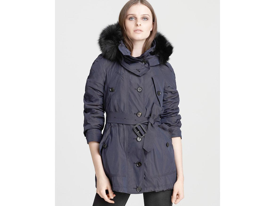 $1495 Burberry Raincoat Barningham Hooded Jacket Fox Removable Lining Trench 8