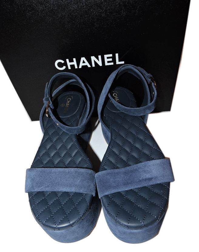 15S Chanel Navy Blue Wedge Quilted Strappy Sandals Shoes Slingback 6.5- 36.5 - Click Image to Close