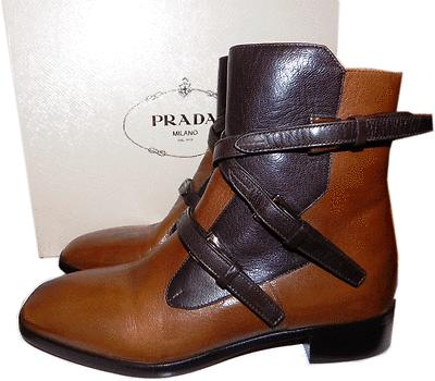 Prada Brown Two Tone Buckles Flat Ankle Moto Riding Bootie 36.5 Boots