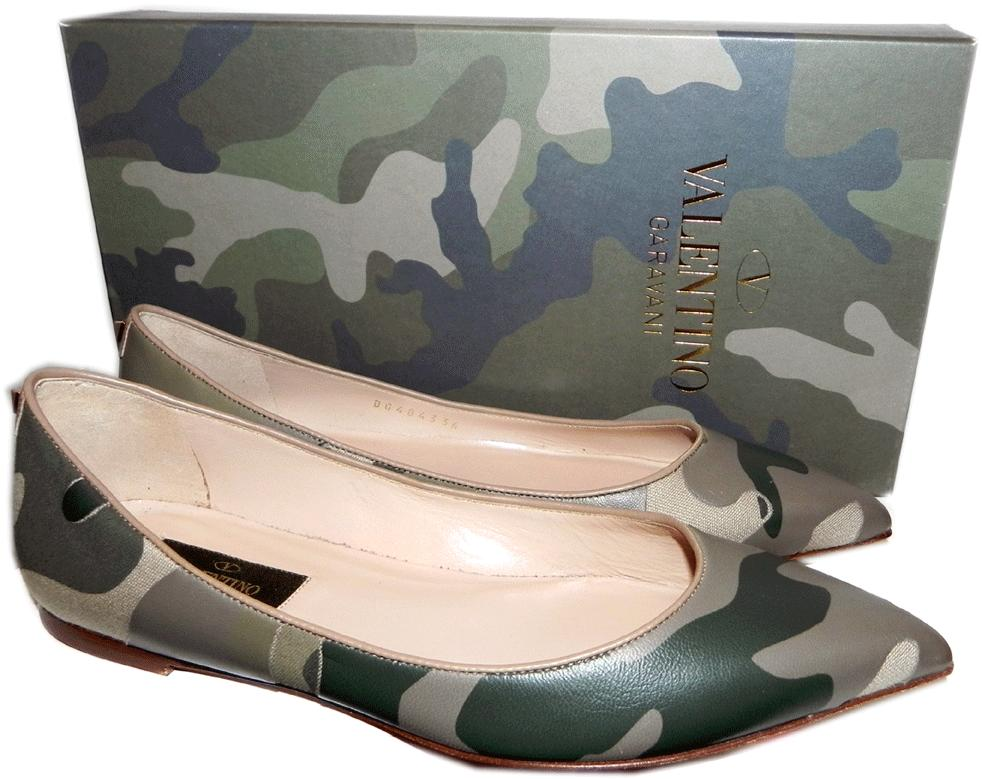 $1095 Valentino Pointy Toe Flats Camouflage Shoe Ballet 36- 6 Ballerina Pump