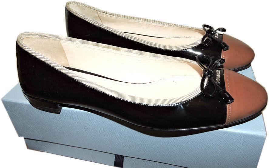 1106422227 Prada Black Leather Ballet Flats Ballerina Brown Cap Toe Shoe 40.5 Gold  Logo Bow