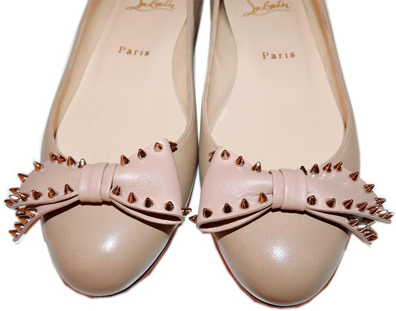 Christian Louboutin Ballerina Studded Bow Leather Ballet Flats Shoe 37.5