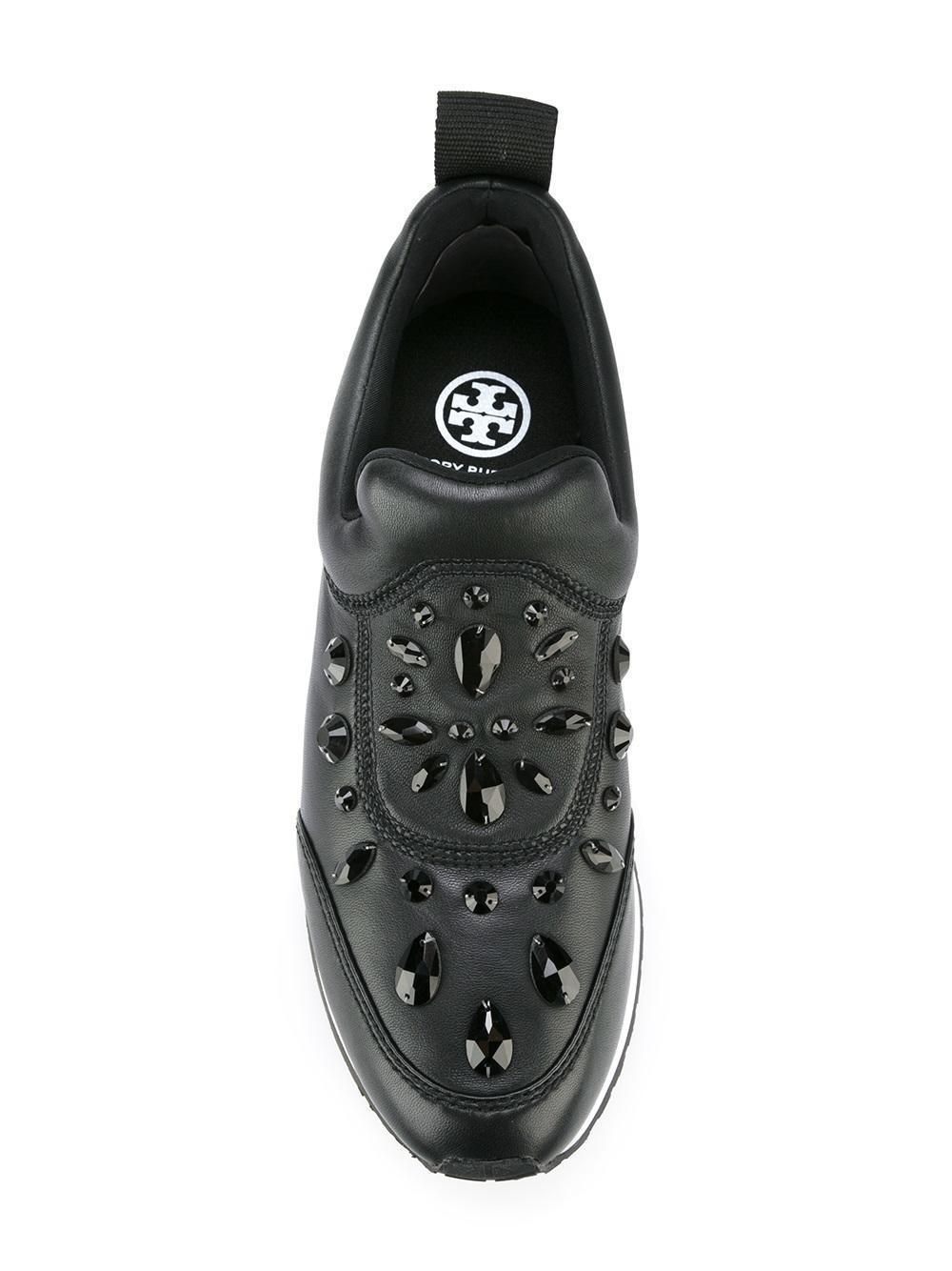 c21381faeddd Tory Burch Laney Crystal-Embellished Black Leather Shoe Flat Sneakers Shoe  6.5