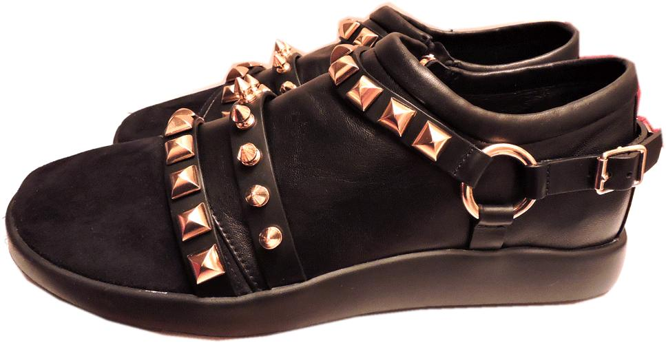 $895 Giuseppe Zanotti Black Leather/suede Gold Studded Men's Sneakers Shoes 42
