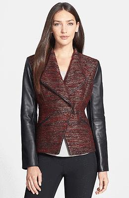 $398 Classiques Entier Larch Tweed- Leather Burgundy Fitted Jacket M Blazer