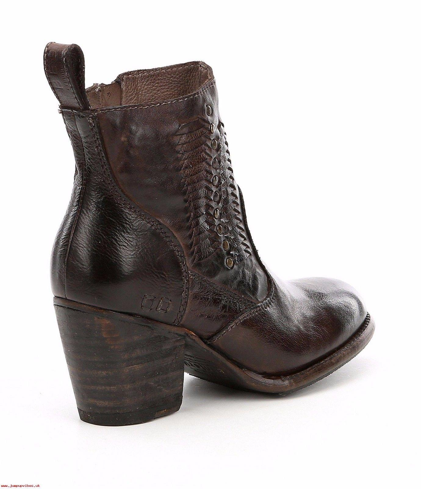 Bed Stu Ankle Brown Woven Rustic Leather Shrill Boots Zippered Moto Booties 9 - Click Image to Close