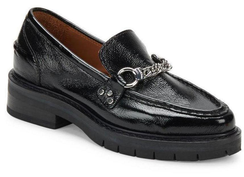 $495 Rag & Bone Albor Leather Penny Loafers Black Moccasin Chain Shoe 38.5