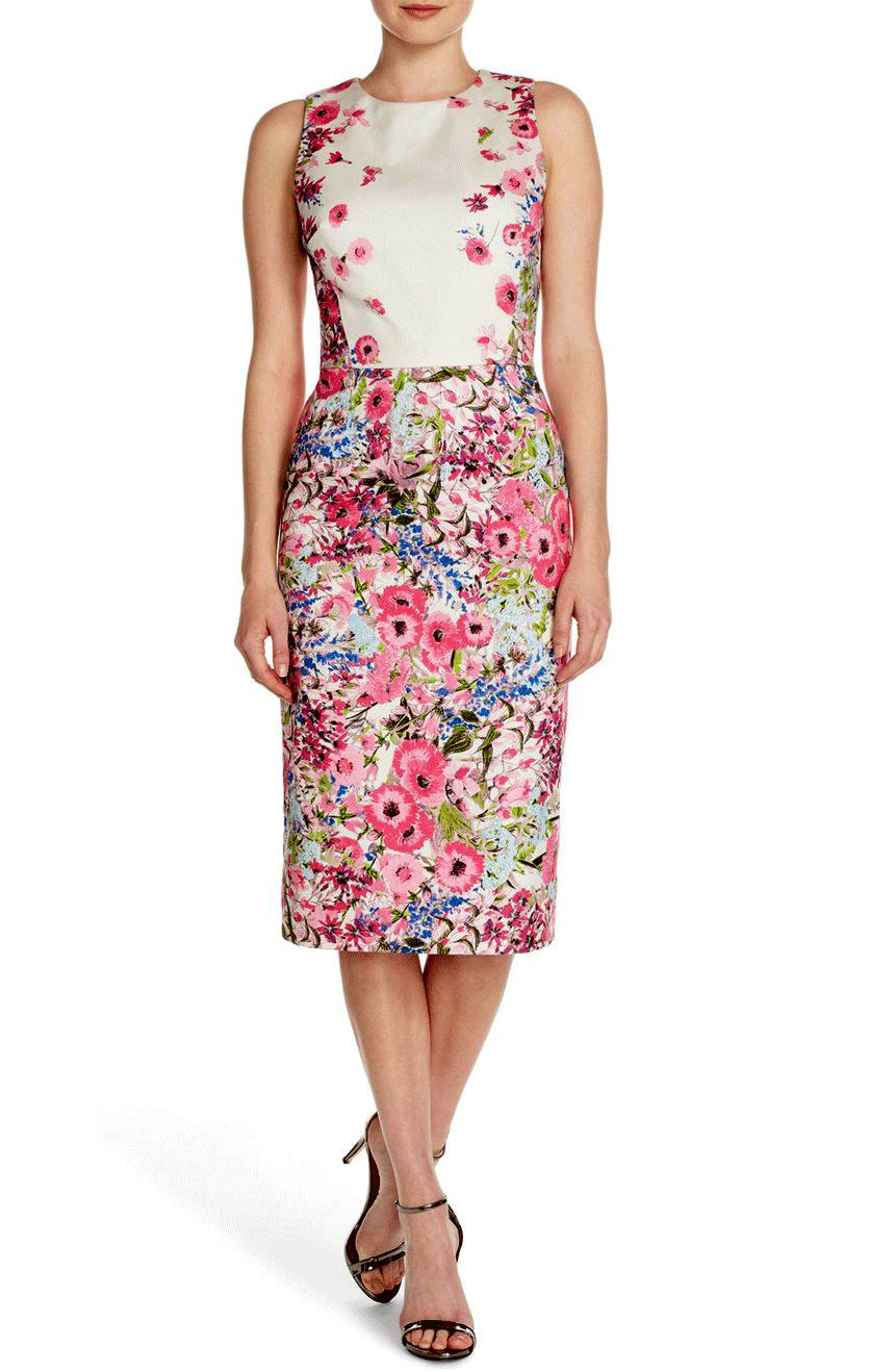 Maggy London Floral Print Stretch Cotton Midi Dress Pink Ivory Sz. 2- S