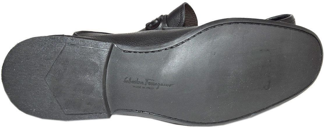 Salvatore Ferragamo Injected Grain Leather Bit Loafer Moccasin Black Shoes 8 D - Click Image to Close