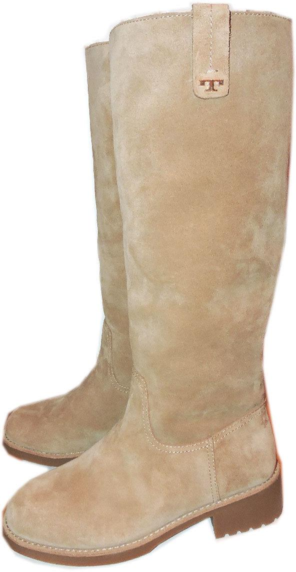 Tory Burch Women's Natural Waylan Beige Shearling Fur Lined Boots Suede Bootie 9