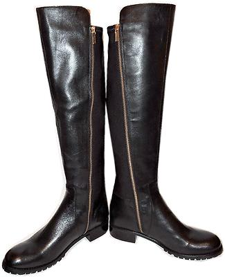 Michael Kors Bromley Tall Black Leather Boots Flat Riding Stretch Booties 8