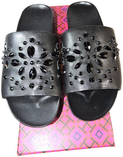 911237a84f83a9 Tory Burch Brae Crystal Leather Slide Sandals Flat Mules Black Leather 8  Shoes