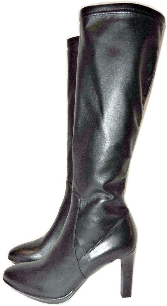 $725 Aquatalia-Marvin Black Stretch Tall Leather Boot Rumbah Zipper Booties 10