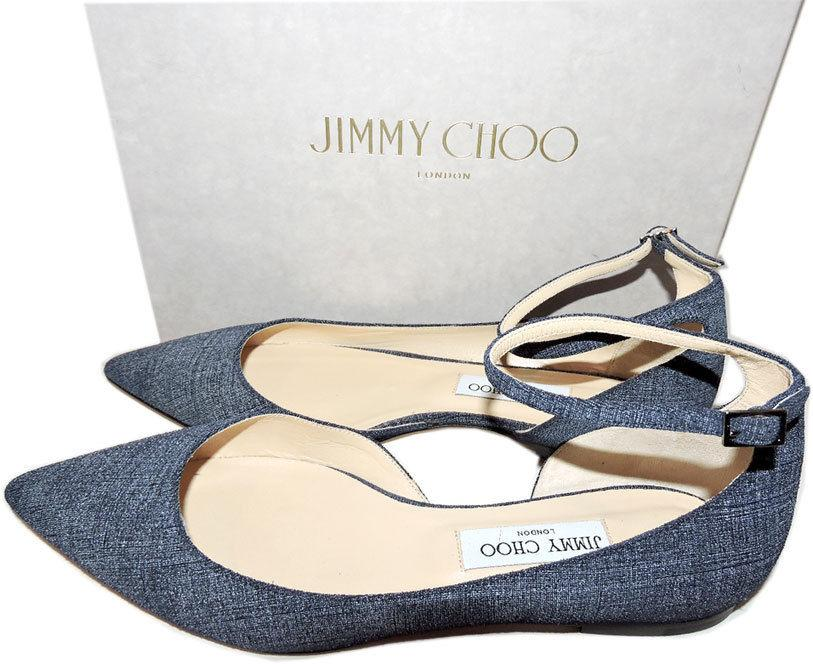 Jimmy Choo Lucy Pointy Toe Ballerina Flat Shoes Ballet Pump 40 Blue Leather 9