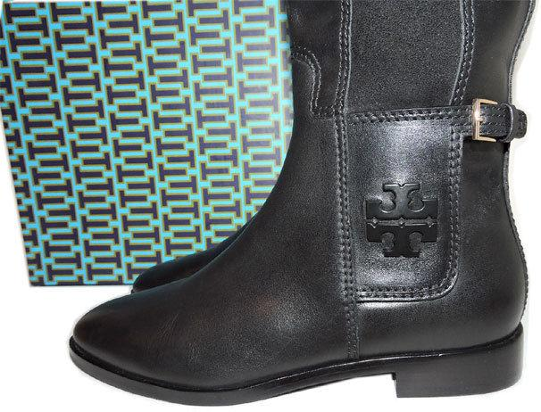 Tory Burch Wyatt Leather Riding Boot Flat Equestrian Stretch Booties 7 Tall Knee