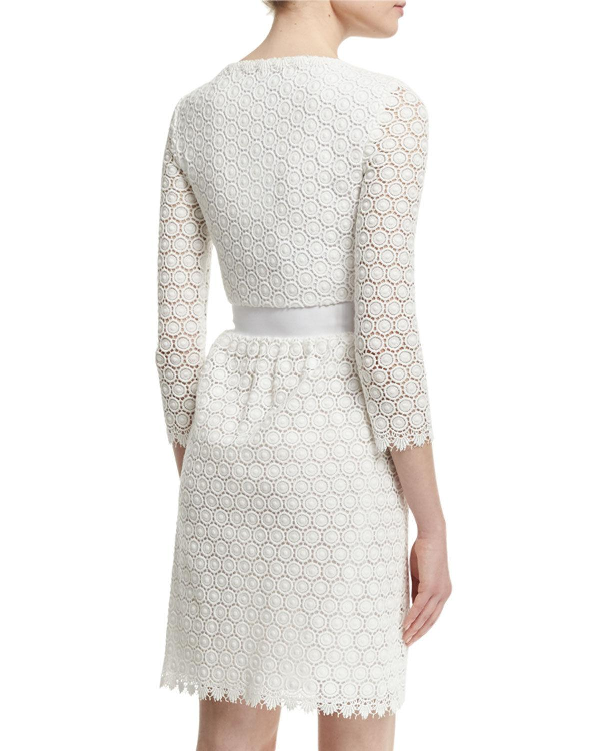 $568 Diane Von Furstenberg Dvf Nolly Laces Honeycomb A-Line Ivory Dress 6 - S