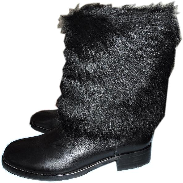 $498 Via Spiga Black Lack Kaya Shearling And Leather Boots Flat Booties 7