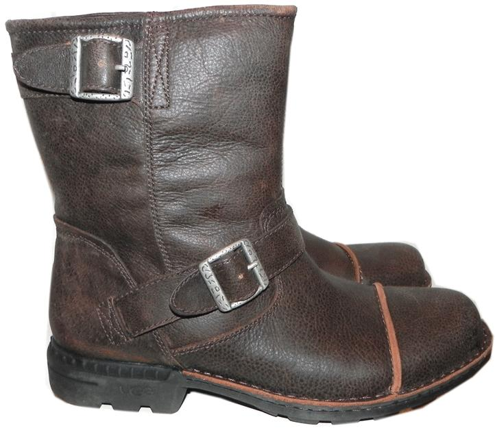 Ugg Australia Mens Rockville Fur Lined Engineer Moto Biker Buckled Boots 8