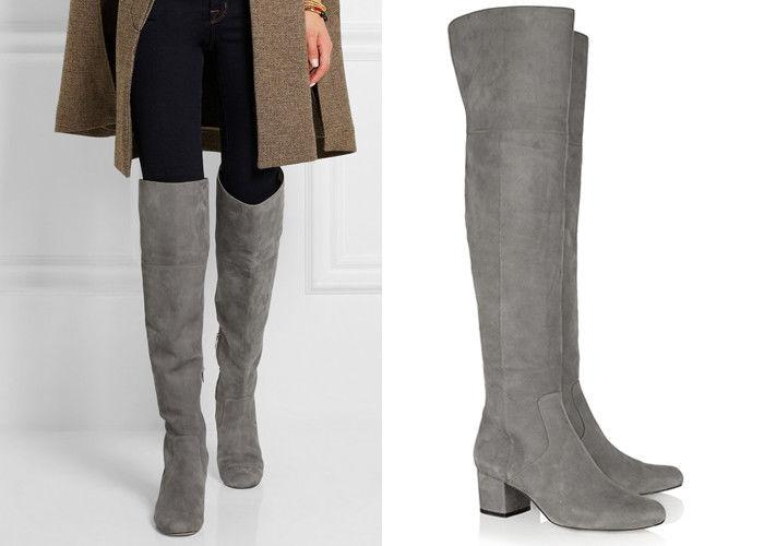Sam Edelman ELINA Slate Gray Suede Over the Knee Boots Thigh High Booties 8- 38