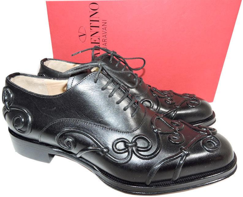 VALENTINO Garavani Black Leather Lace Up Baroque Oxford Flat Shoes 38 Loafers