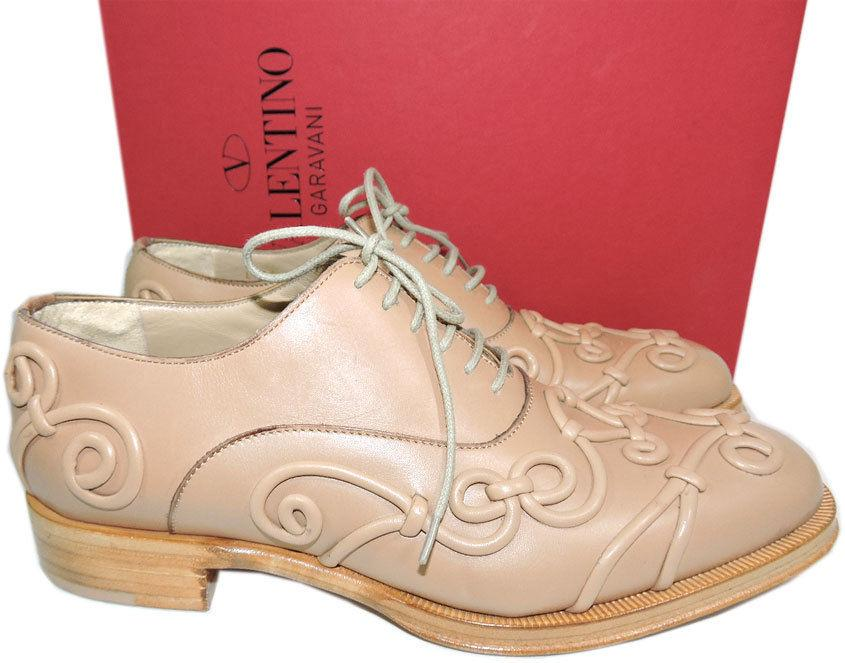 VALENTINO Garavani Beige Leather Lace Up Baroque Oxford Flat Shoes 38 Loafers