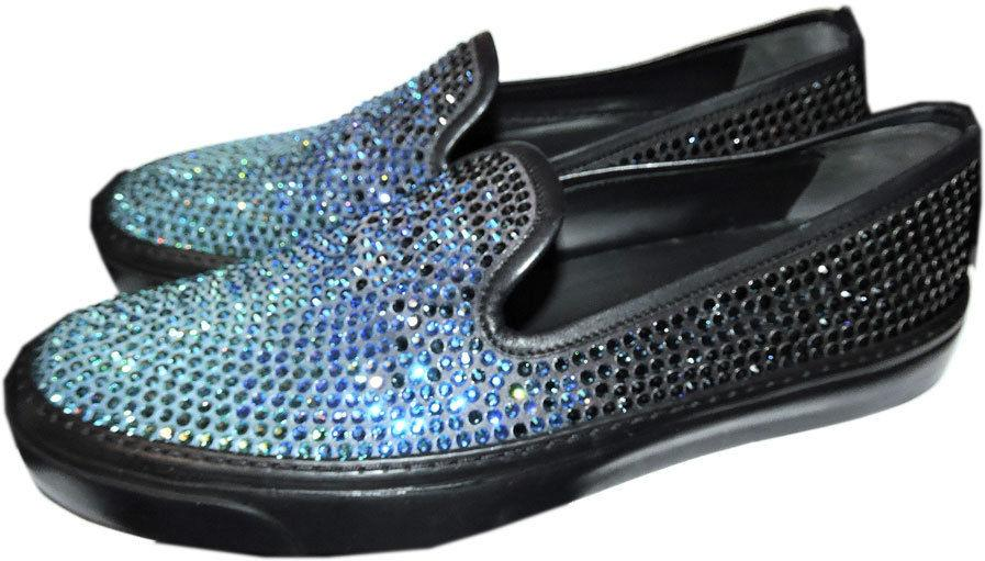 Gucci Black Blue black Skate Sneakers Degrade Crystals Coated Flats Shoe 40