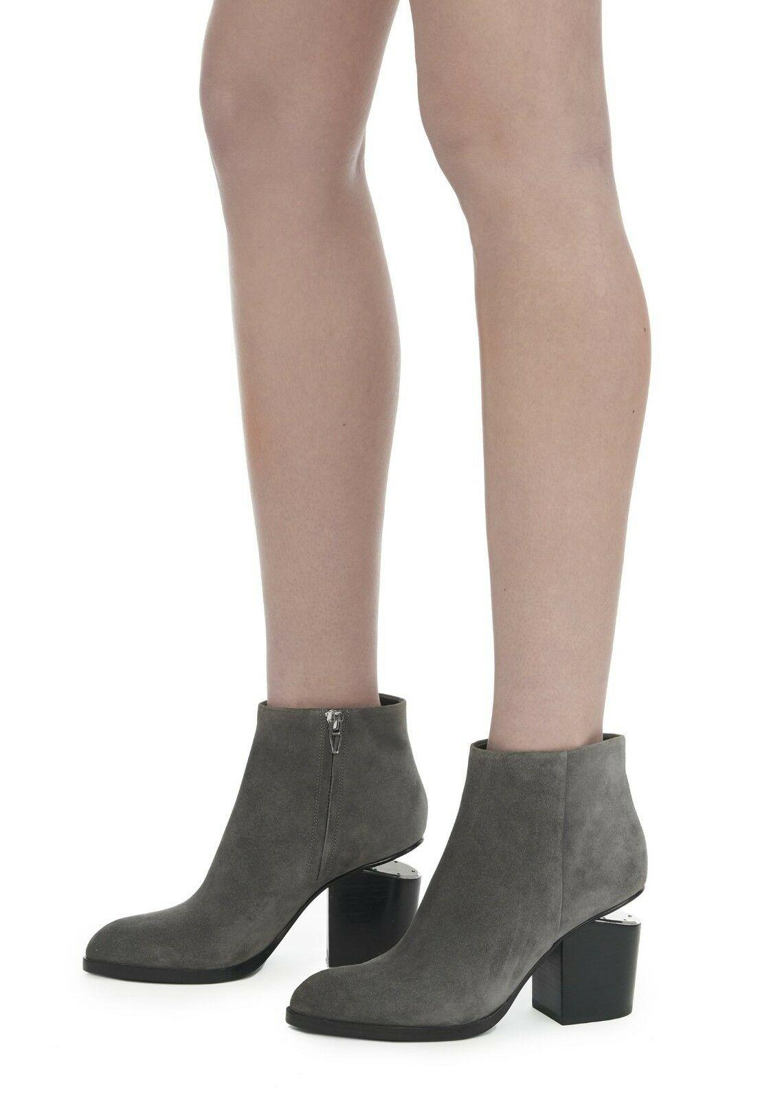Alexander Wang GABI Gray Suede Boots With Rhodium Ankle Booties 39.5- 9...