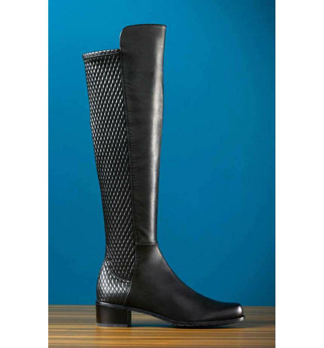Stuart Weitzman Boot Alljenn Flat Stretch Over Knee 5050 Otk Leather 7.5 Booties