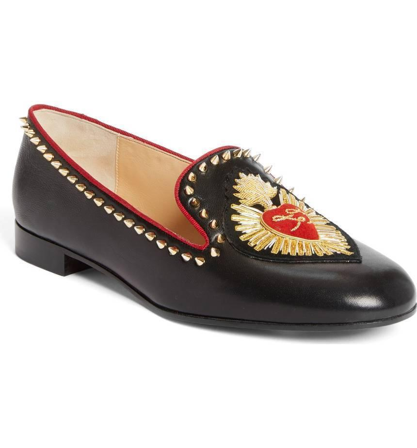 Christian Louboutin Mi Corazon Smoking Loafer Studded Leather Ballet Flats 35.5