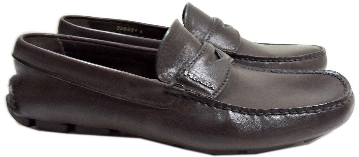 Prada Brown Leather Moccasin Driving Shoes Penny Loafers 6 Uk- 7 Us
