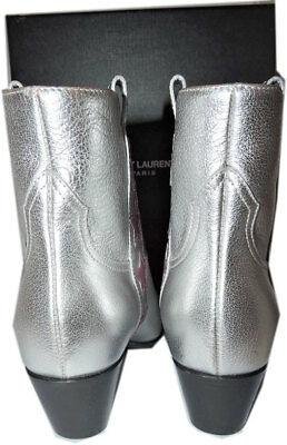 7bf7abf9 Ysl Saint Laurent Rock 36 Star Boots Silver Ankle Booties Low Heel ...