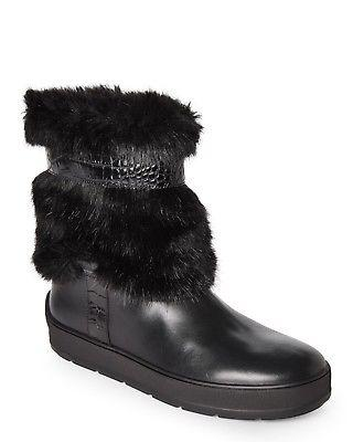 $450 Aquatalia Kamila Faux Fur Trim Weatherproof Boot Fur Lined Bootie 9